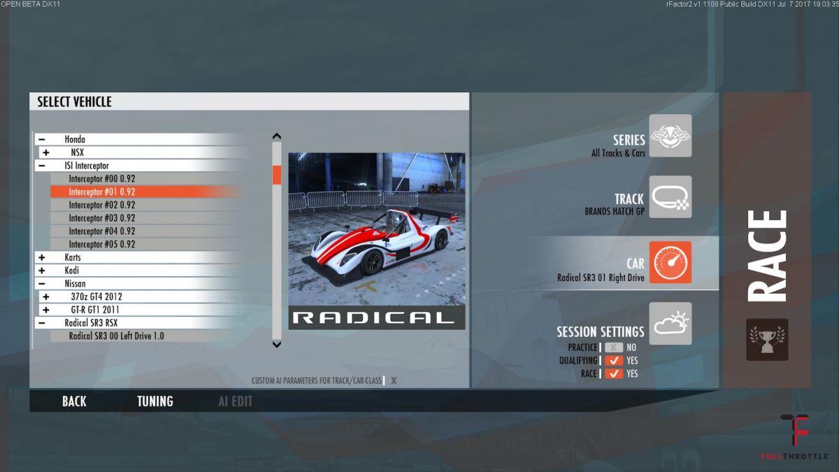 Wybór auta w menu.
